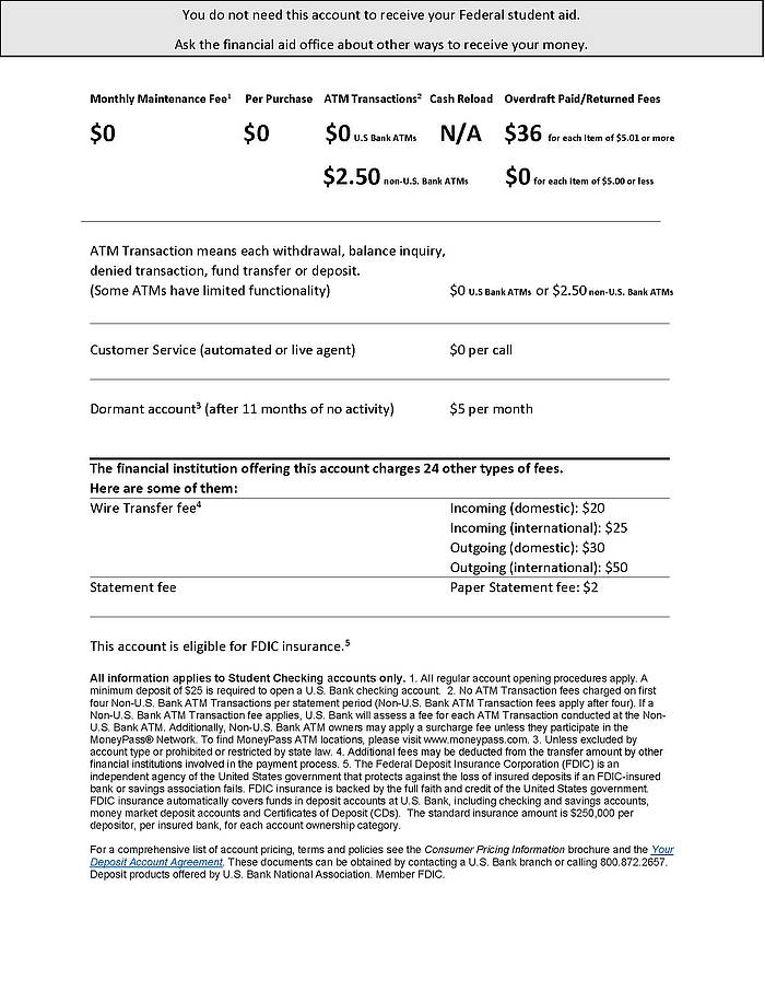 U.S. Bank Information Sheet