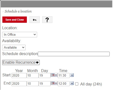 schedule a location