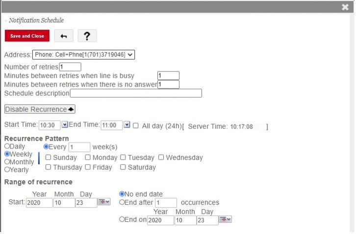 notification schedule fields