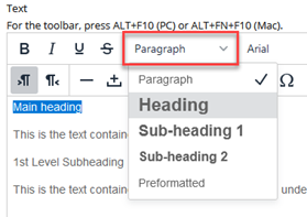 Paragraph, Heading, Sub-heading 1, Sub-heading 2, Preformatted