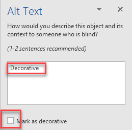 Alt Text Decorative | Mark as decorative unchecked