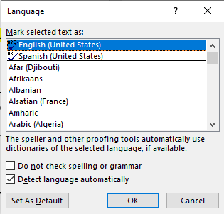 The MS Word Language dialog box with English (United States) selected.