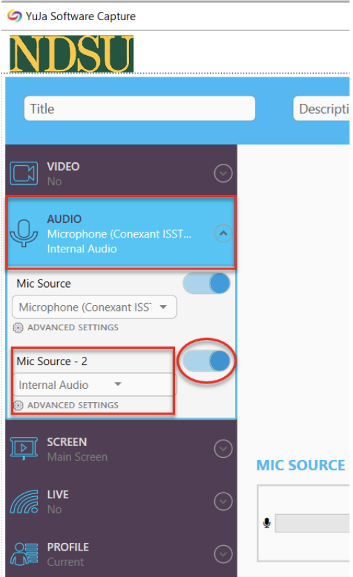 Audio Capture YuJa Screenshot