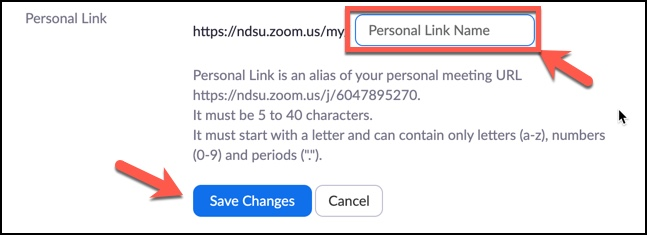 Zoom Personal Link Name customize