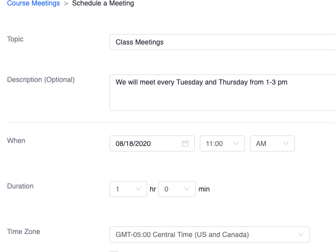 zoom class meetings option